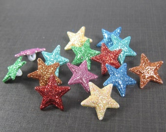 Assorted Colors Glittered Star Buttons