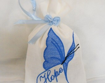Butterfly Lavender Sachet -  Blue Embroidered  Butterfly on Egyptian Cotton - Hope