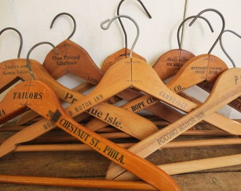 Too Many Hang Ups...  Vintage Industrial Advertising Wooden Clothes Hangers Instant Collection of Six 6