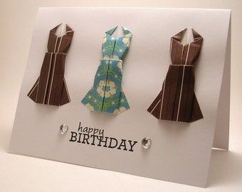 Mini Origami Dress Birthday Card (brown blue)