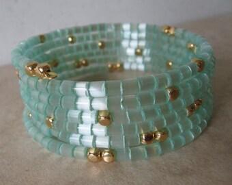 Memory Wire Coil Bracelet - Light Aqua