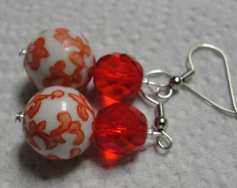 Red White Ceramic Glass Faceted Beaded Dangle Pierced Earrings REDUCED