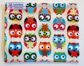 JUMBO Size Cotton Print Re-Usable Lunchkins Snack Bag FREESHIP Canada Nylon Lining and Velcro Closure Owls Birds Jellyfish