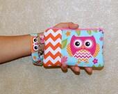 Bird and Owl (Orange Chevron) - Wristlet Purse with Removable Wristlet Strap and Interior Pocket