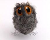 Needle Felted Owl Baby Natural Grey Owl Decoration, Felt Bird