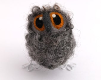 Needle Felted Owl Baby Natural Grey Owl Decoration, Felt Bird