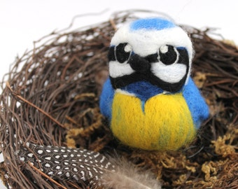 Needle Felted Bird Blue Tit Tweet Wild Bird