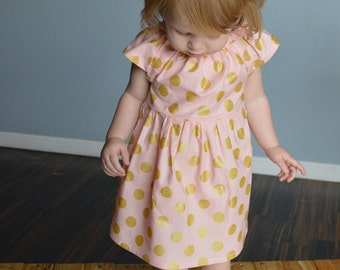 Dress pink and gold baby dress blush first birthday dress polka dots flower girl dress photo shoot spring summer wedding baby shower gift