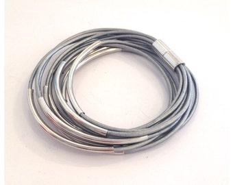 Metallic Silver Leather Double Wrap Silver Bracelet / Necklace with Magnetic Clasp