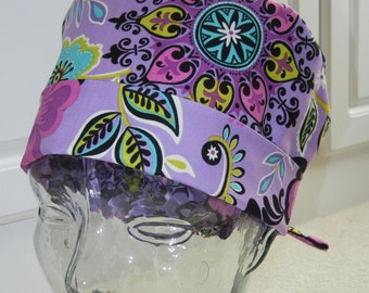 Tie Back Surgical Scrub Hat in Lavender Bliss
