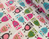 SALE Owl Fabric, Minky Fabric, Cuddle Fabric by Anne Kelle for Shannon Fabrics- Owls in Pink- Fabric by the Yard, Free Shipping Available