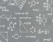 Science fabric, Chalkboard fabric, School fabric, Geek fabric, Science Fair Fabric by Illustration Ink- Chemistry Chalkboard in Gray