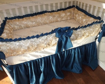 NEW Custom Rosette Satin & Faux Silk Luxury Posh Baby Nursery with Ruffles 3-Piece Crib Bedding Set YOUR CHOICE of Colors