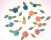 Tiny Felt Flowers and Leaves Teal and Peach