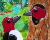 Fused Glass Art Panel Tile Red Headed Woodpeckers Nature Woodland Scene
