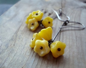 Yellow Blossom Stick Earrings Cluster Oxidized Sterling Spring Jewelry Autumn Woodland Gifts Under 40 Flower Jewelry Floral Metalwork