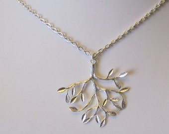 Tree Branch Leaf silver necklace  - Bridesmaids - Flower Girl Bridal Jewelry Bridal Accessories
