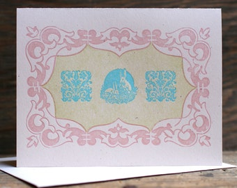 Easter Bunnies ornamental letterpress card