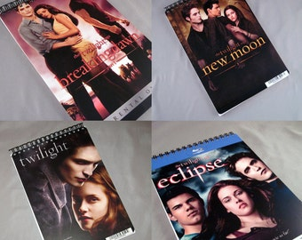 Recycled Twilight Notebook or 18 Month Planner - You Choose Eclipse -  Breaking Dawn