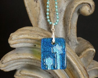 Flowers Blue Carved Dichroic Glass Pendant - FREE SHIPPING!