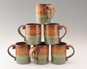 Single Pottery Coffee Mug, Straight Style Honey Brown and Sage Green 12 ounce Soup Mug