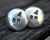 Custom Pewter Cufflinks - Personalized Initials with Skull & Crossbones