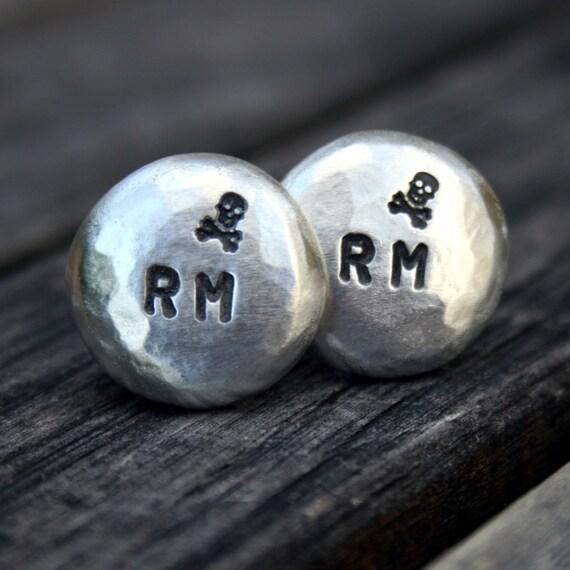 Custom Pewter Cufflinks - Personalized Initials with Skull & Crossbones