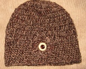 Hand Crocheted Hat - Autumn - Cocoa Tan Rust - Linen - Cotton Blend - FREE USA SHIPPING