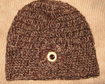 Hand Crocheted Hat - Autumn - Cocoa Tan Rust Red Brown - Linen - Cotton Blend