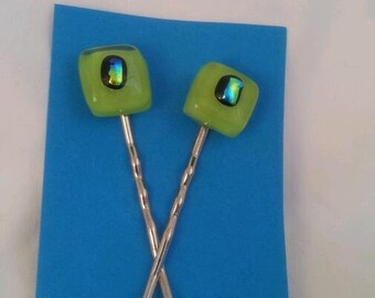 Fused Glass Bobby Pins Lime Green With Blue Green Dichroic