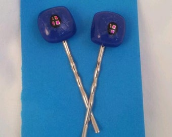 Fused Glass Bobby Pins Blue with Dichroic
