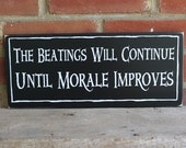 The Beatings Will Continue Pirate Sign Funny Wood Plaque for Home and Pirate Ship