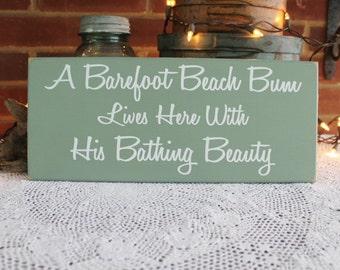 Beach Sign Wood Beach Bum lives here Bathing Beauty, Coastal Wall Decor, Cottage Decor, Seaside