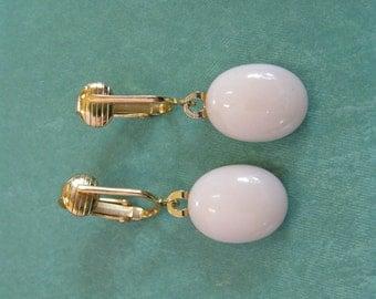 Dangle Clip On Earrings, Cream Clipons, Non Pierced Earrings, Womens, Gold Tone Clipons Findings - Lina - 372 -4