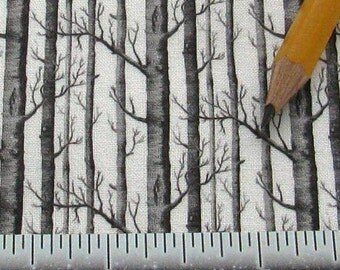 Dollhouse Miniature Modern UPHOLSTERY FABRIC Trees Black White 1/12th