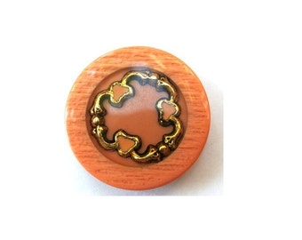6 Vintage buttons beautiful unique design of inside hearts 34mm