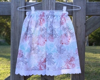Lace and Bow Print Skirt with Lace Trim Size 6