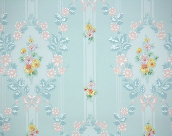 1940s Vintage Wallpaper by the Yard - Blue Background with Pink and Yellow Flowers, Floral Wallpaper