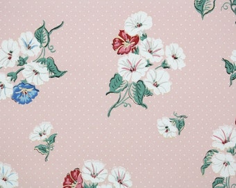 1930s Vintage Wallpaper by the Yard - Floral Wallpaper with White Blue and Red Morning Glories on Pink