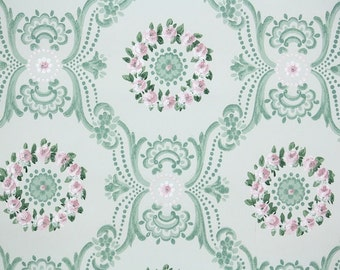 1940's Vintage Wallpaper - Floral Geometric with Pink Roses and Green Victorian Design