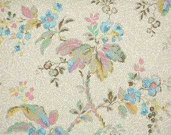 1930s Vintage Wallpaper by the Yard - Colorful Pastel Watercolor Floral on Tan, Pretty Leaves and Flowers
