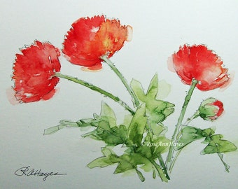 Red Poppies Original Watercolor Painting of Flowers Floral Wildflowers