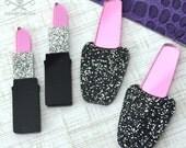 MAKEUP SWEETHEART - 10 Piece Cab Lot - Nail Polish - Lipstick - Black - Glitter - Pink Mirror