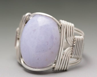 Blue Lace Agate Cabochon Sterling Silver Wire Wrapped Ring ANY size