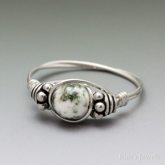 Tree Agate Bali Sterling Silver Wire Wrapped Bead Ring ANY size