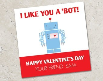 Valentine Stickers or Tags . Robot - I like you a 'BOT . for Favors, Treat Bags and Envelope Seals