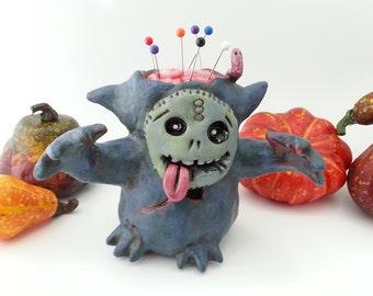Gerard the Zombie, Cute Halloween Clay Figurine, Creepy Clay Pincushion