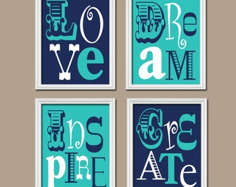 Turquoise Navy Blue Wall Art, CANVAS or Prints Girl Child Playroom Love Dream Inspire Create Life Quote Set of 4 Nursery Bedroom