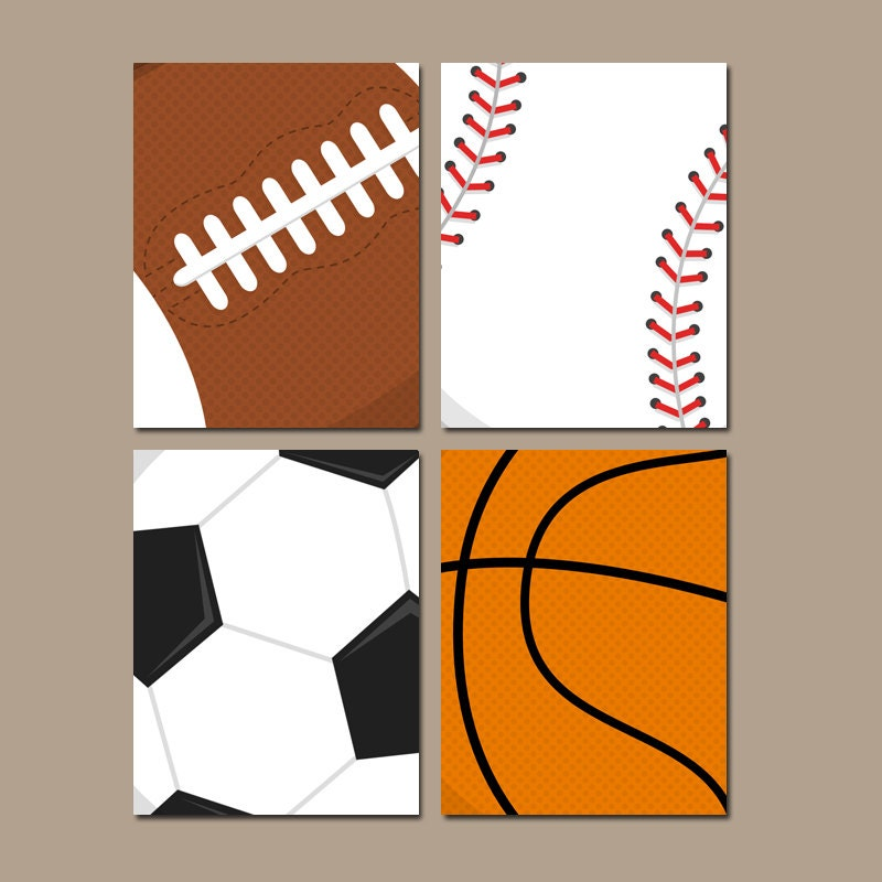 SPORTS Wall Art Baby Boy Nursery Boy Bedroom Canvas By TRMdesign