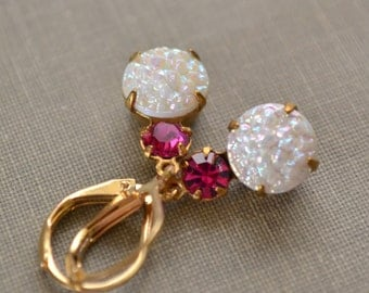 Fuchsia and White Glass Druzy Estate Earrings, Brass Lever Back, Vintage Hot Pink and White Rhinestone Earrings